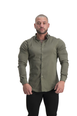 Muscle Fit Button Up Khaki