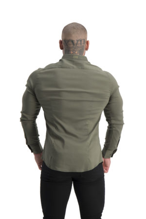 Muscle Fit Button Up Khaki back