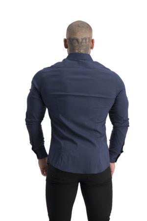Muscle Fit button up Navy back