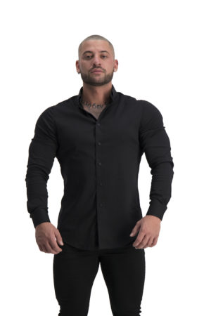 Muscle Fit button Up Black front