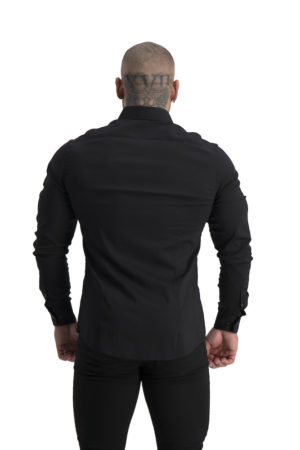 Muscle Fit button Up Black back