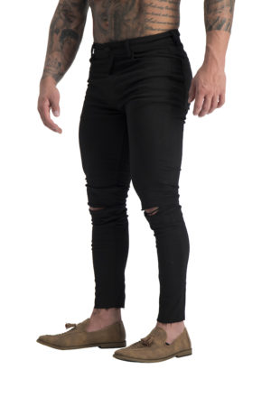 06 Muscle fit jeans Black ripped knee cropped 2