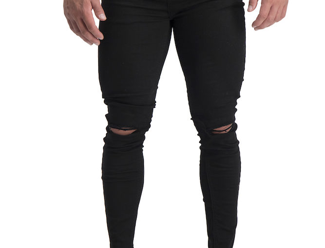 06 Muscle fit jeans Black ripped knee cropped
