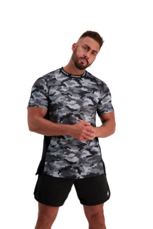 PURSUIT 2-0 Black_Grey Camo Tee Front