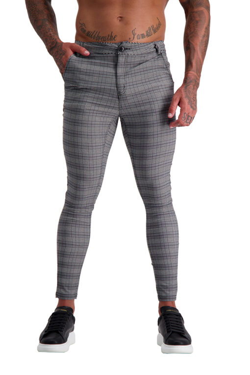 AG15 Muscle Fit Trousers Grey Check front