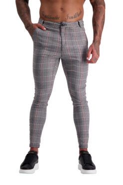 AG16 Muscle Fit Trousers Grey Check_Red Stripe front