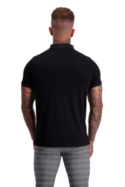 MUSCLE FIT BLACK ZIP POLO back