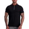 MUSCLE FIT BLACK ZIP POLO front