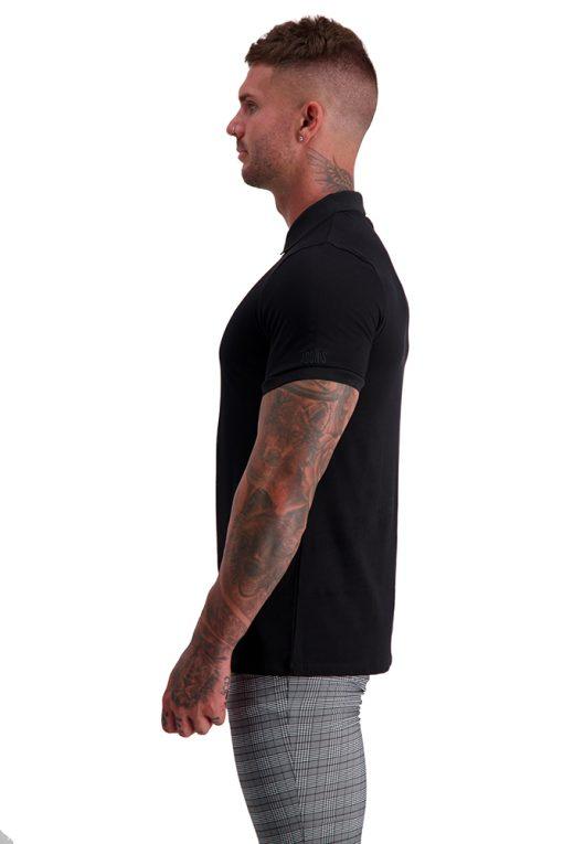 MUSCLE FIT BLACK ZIP POLO side