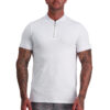MUSCLE FIT WHITE ZIP POLO front