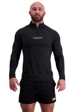 AG68 TRAINING (Black) 1_4 Zip Long Sleeve T-Shirt Front