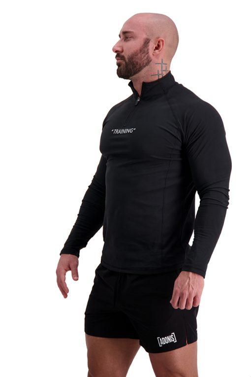 AG68 TRAINING (Black) 1_4 Zip Long Sleeve T-Shirt Side