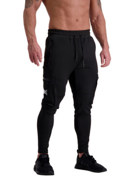 AG41 CLIMATE (Black_White) Cargo Track Pants Front