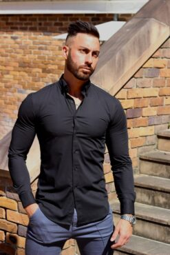 Black Regular Muscle Fit Button Up Shirt Front