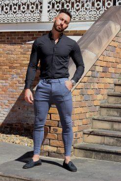 Black Regular Muscle Fit Button Up Shirt Full