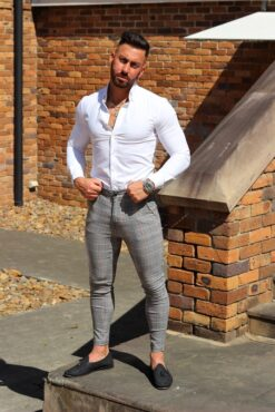 White Regular Muscle Fit Button Up Shirt Full